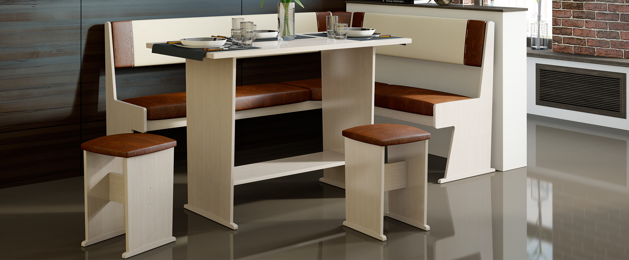 Кухонный уголок Амиго Модель 3016Кухонный уголок «Амиго» состоит из комфортной скамьи с высокой спинкой, на которую приятно облокотиться после рабочего дня; просторного обеденного стола прямоугольной формы и двух табуретов с мягким сидением.<br>