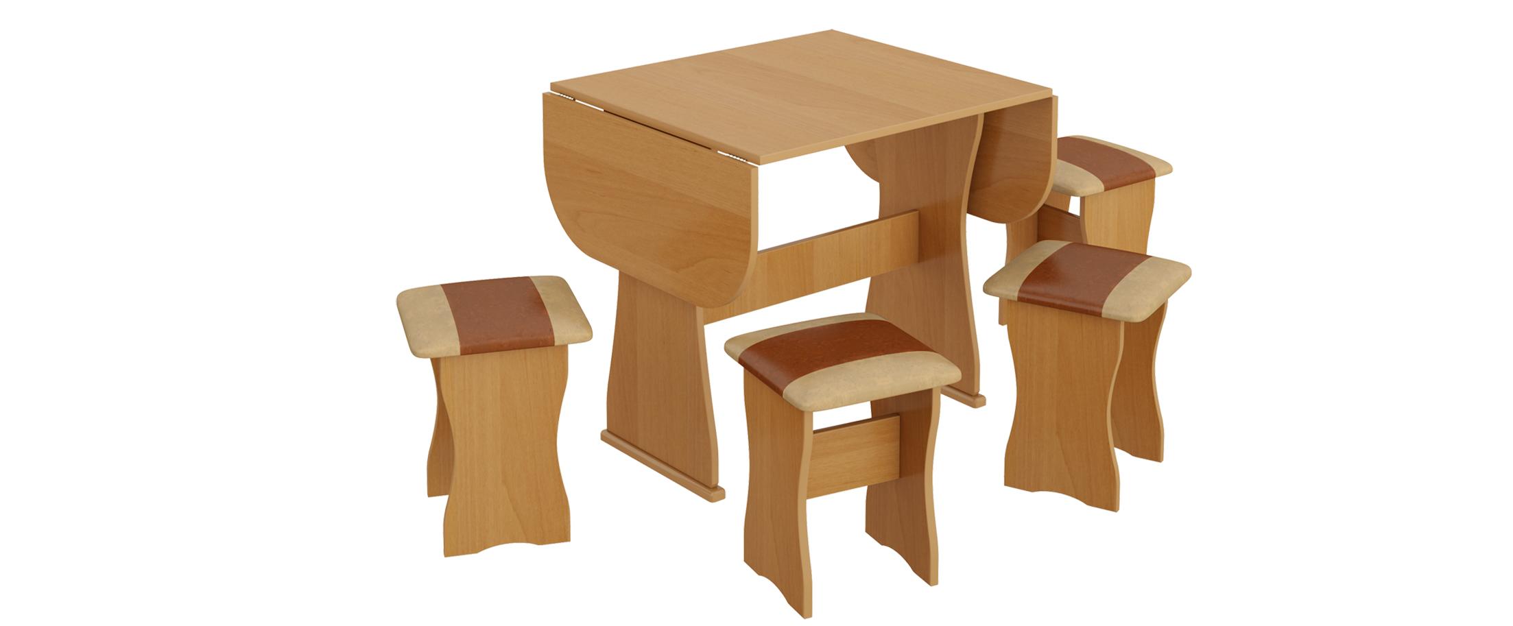 Обеденная группа тип 4 Модель 3020. Стол легко раскладывается и, таким образом, рабочая поверхность увеличивается, что дает увеличение количества посадочных мест.<br>