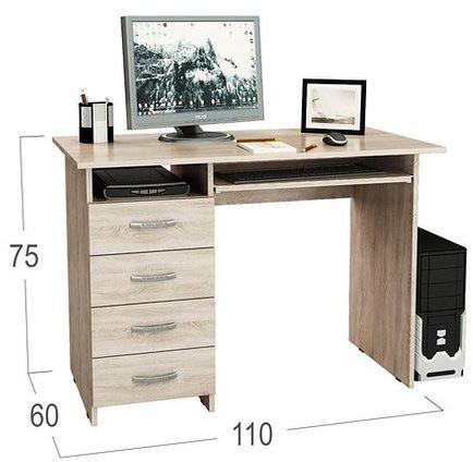 Стол компьютерный Милан 3 Модель 832Компьютерный стол «Милан-3» оснащен специальной выдвижной полкой для клавиатуры, а 4 вместительных ящика на роликовых направляющих позволят аккуратно хранить принадлежности, необходимые для работы или учебы. Небольшие габариты стола подойдут для самых мин<br><br>Ширина см: 110<br>Глубина см: 60<br>Высота см: 75<br>Тип направляющих: Роликовые<br>Цвет корпуса: Дуб сонома<br>Цвет столешницы: Дуб сонома<br>Цвет фасада: Дуб сонома<br>Материал фасада: ЛДСП<br>Материал столешницы: ЛДСП<br>Материал корпуса: ЛДСП