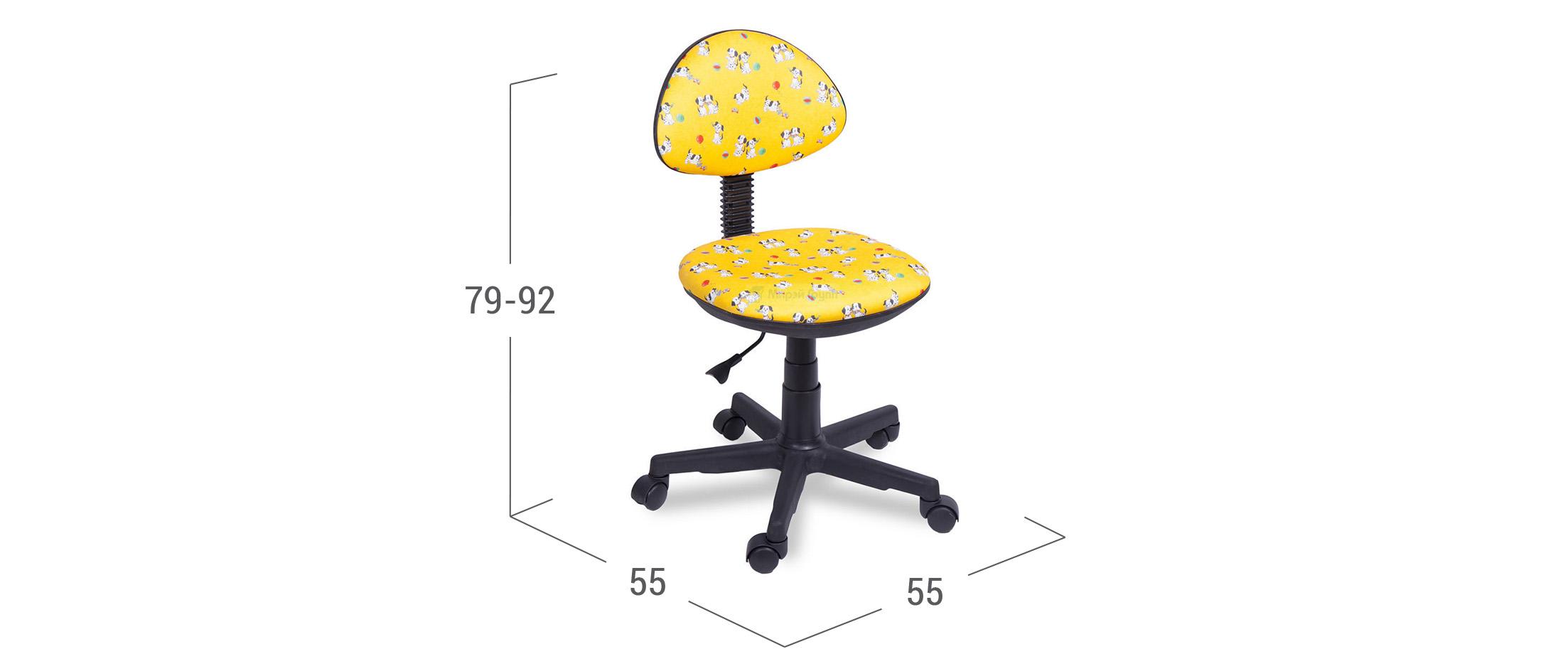 Кресло детское Star Yellow Dog модель 376Яркое кресло Yellow Dog Д000895 без подлоготников для организации удобного рабочего места, гармонично впишется в интерьер детской комнаты или детского уголка, а красочные принты из полюбившихся мультиков приведут Вашего ребенка в восторг!<br><br>Ширина см: 55<br>Глубина см: 55<br>Высота см: 79<br>Максимальная нагрузка : 80<br>Глубина посадочного места см: 37<br>Цвет: Желтый<br>Материал каркаса: Пластик
