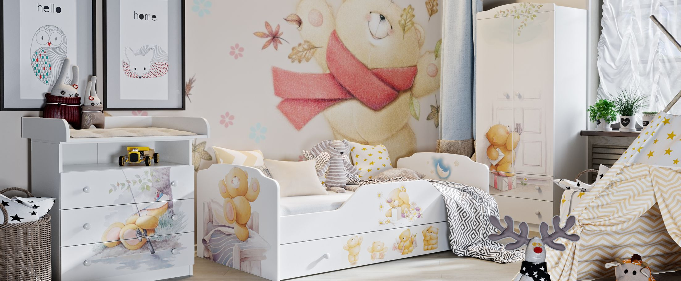 Детская Тедди модель 931Купить набор уютной и комфортной детской мебели в интернет магазине MOON TRADE. Спальное место 80х160 см. Быстрая доставка, вынос упаковки, гарантия! Выгодная покупка!<br><br>Ширина спального места см: 80<br>Длина спального места см: 160<br>Цвет: Белый<br>Материал корпуса: ЛДСП<br>Материал фасада: ЛДСП/УФ-печать