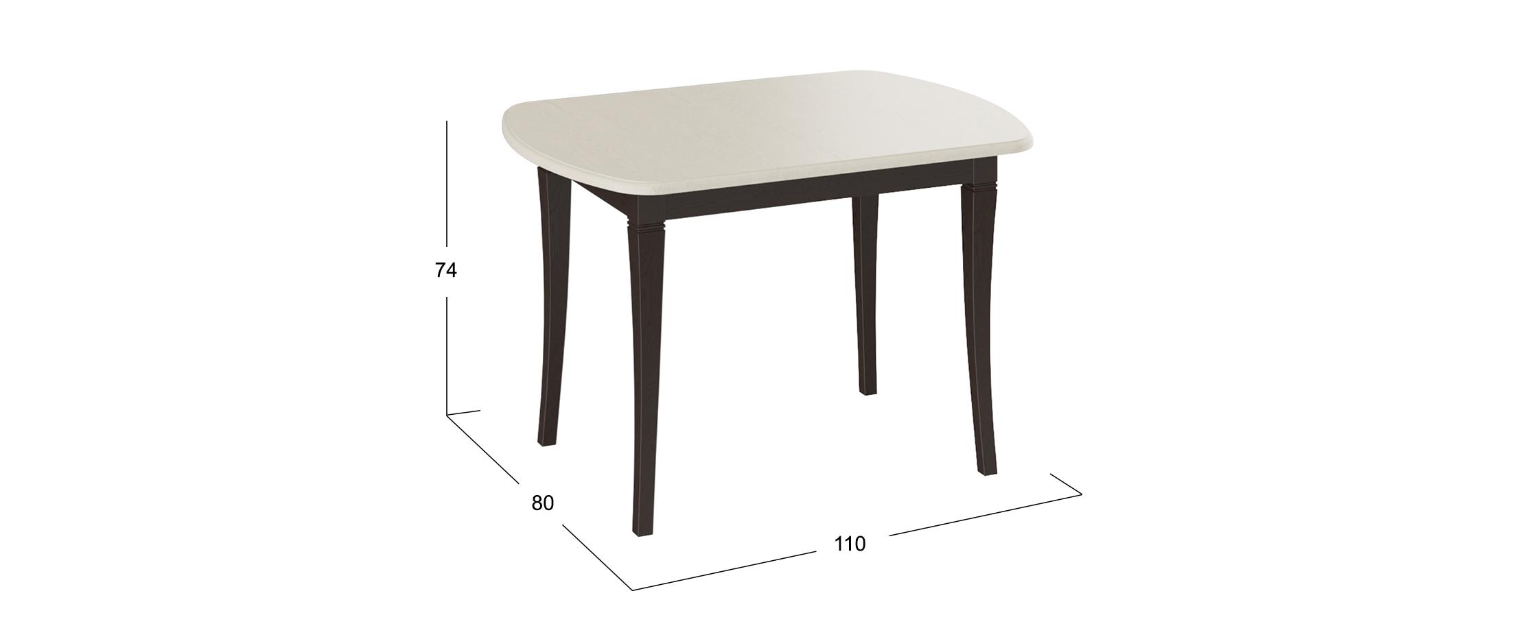 Стол обеденный Альт 110*80 Темный орех/слоновая кость