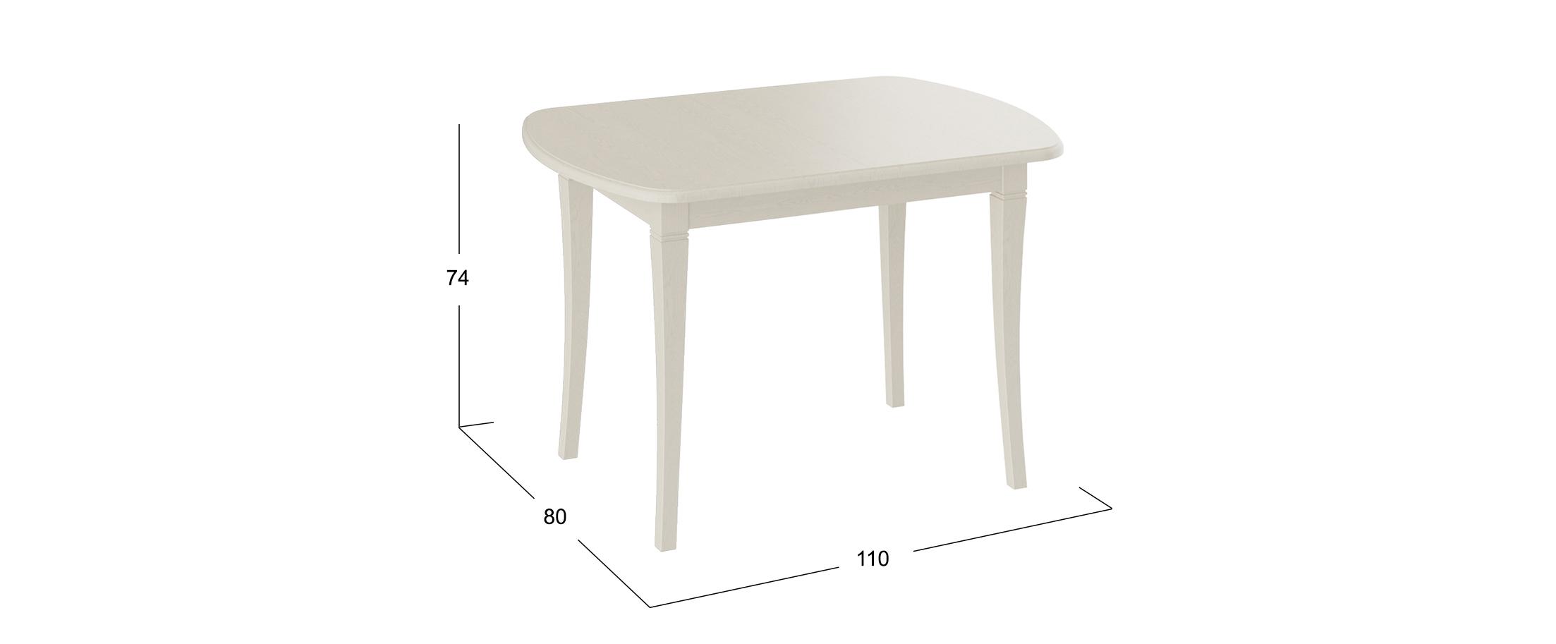 Стол обеденный Альт 110*80 Слоновая костьСтолы обеденные<br>При необходимости Стол Альт можно разложить, таким образом число посадочных мест увеличится до 8 человек. Трансформация этого стола осуществляется довольно просто и не составляет труда.