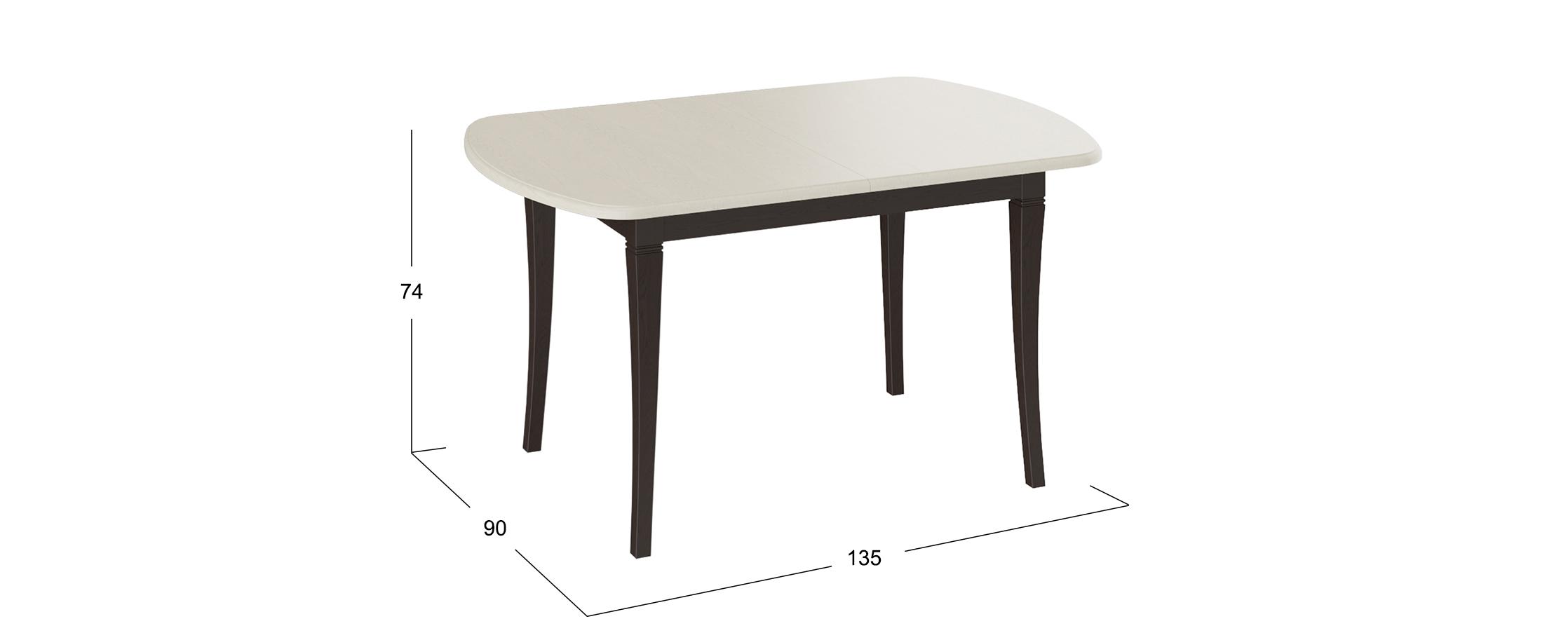 Стол обеденный Альт 135*90 Темный орех/Слоновая кость