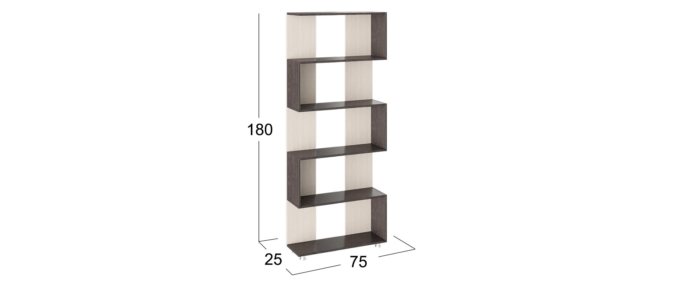 Стеллаж 4 Модель 925Стеллажи активно входят в моду и все чаще используются в виде важного, функционального предмета мебели, в качестве альтернативы громоздких стенок и книжных шкафов. Изящные<br><br>Ширина см: 75<br>Глубина см: 25<br>Высота см: 180<br>Материал корпуса: ЛДСП<br>Цвет корпуса: Венге, Дуб молочный