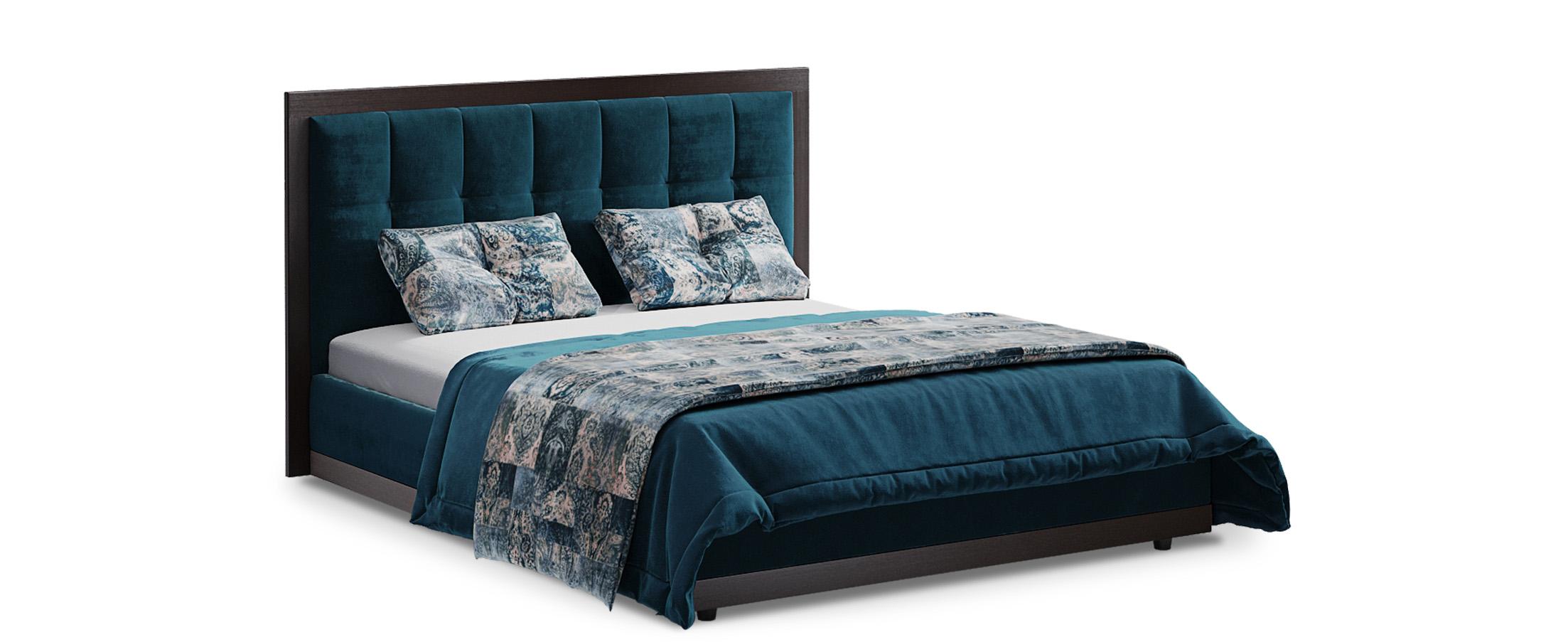 Кровать двуспальная MOON 1015Кровать с основанием MOON 1015. Спальное место 160х200. Продуманный до мелочей дизайн кровати прекрасно подойдет для любого интерьера.<br><br>Ширина см: 186<br>Глубина см: 212<br>Высота см: 118<br>Ширина спального места см: 160<br>Длина спального места см: 200<br>Цвет: Синий<br>Материал каркаса: ЛДСП<br>Материал обивки: Велюр<br>Цвет декора: Венге<br>Подъемный механизм: Нет<br>Встроенное основание: Есть<br>Код ткани: 36-160<br>Бренд: MOON