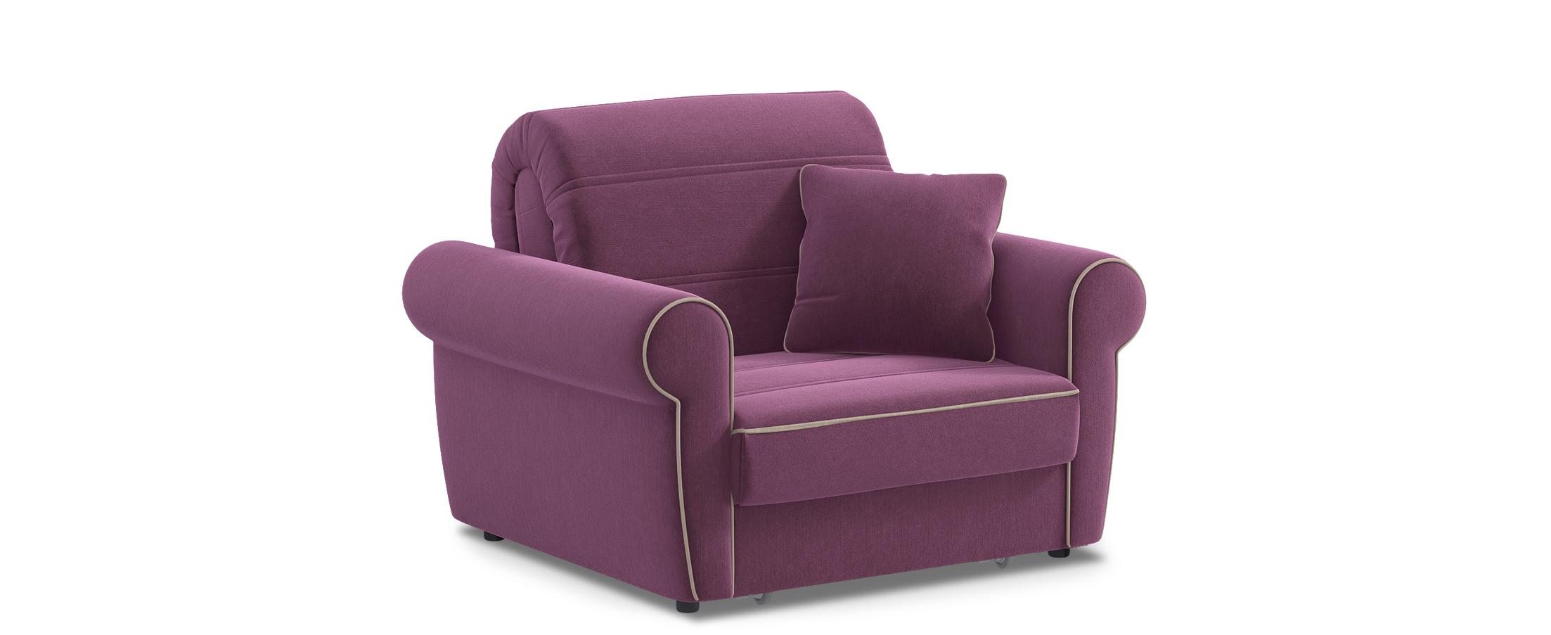 Кресло раскладное Гамбург 123Купить фиолетовое кресло-кровать Гамбург 123. Доставка от 1 дня. Подъём, сборка, вынос упаковки. Гарантия 18 месяцев. Интернет-магазин мебели MOON-TRADE.RU<br><br>Ширина спального места см: 80<br>Длина спального места см: 200<br>Ширина см: 119<br>Глубина см: 105<br>Высота см: 91<br>Глубина посадочного места см: 60<br>Высота спального места см: 45<br>Цвет: Фиолетовый<br>Механизм: Аккордеон<br>Материал: Велюр<br>Жёсткость: Средняя<br>Каркас: Металлокаркас<br>Чехол: Съёмный<br>Основание: Берёзовые латы, Пружинные змейки<br>Бельевой короб: Нет<br>Мягкий настил: ППУ<br>Код ткани: 74-10<br>Модель: Гамбург<br>Бренд: MOON-TRADE