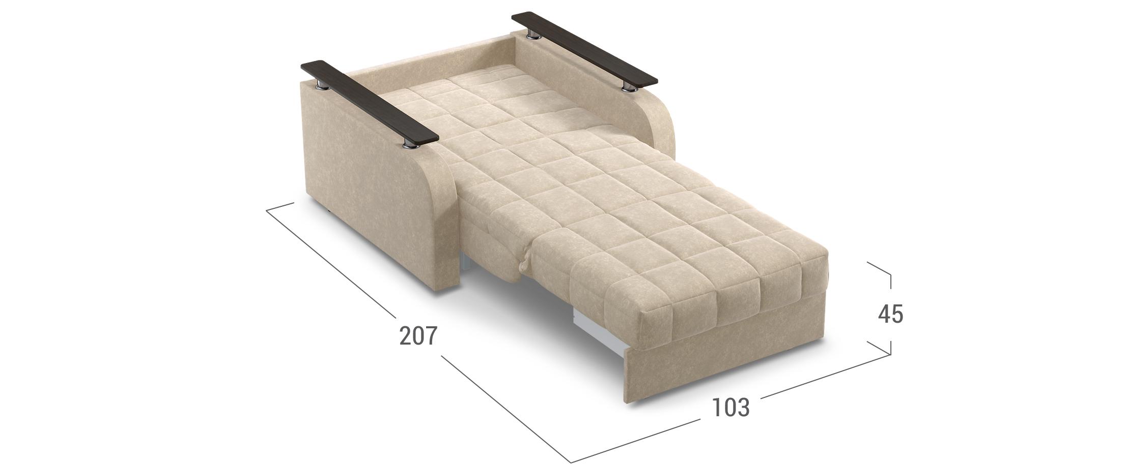 Кресло-кровать Карина 044Купить бежевое кресло-кровать Карина 044. Доставка от 1 дня. Подъём, сборка, вынос упаковки. Гарантия 18 месяцев. Интернет-магазин мебели MOON-TRADE.RU<br><br>Ширина см: 103<br>Глубина см: 104<br>Высота см: 90<br>Ширина спального места см: 80<br>Длина спального места см: 200<br>Глубина посадочного места см: 60<br>Высота спального места см: 45<br>Цвет: Бежевый<br>Механизм: Аккордеон<br>Материал: Велюр<br>Жёсткость: Средняя<br>Каркас: Металлокаркас<br>Чехол: Съёмный<br>Основание: Берёзовые латы, Пружинные змейки<br>Бельевой короб: Нет<br>Мягкий настил: ППУ<br>Цвет декора: Венге<br>Код ткани: 74-1<br>Модель: Карина<br>Бренд: MOON-TRADE