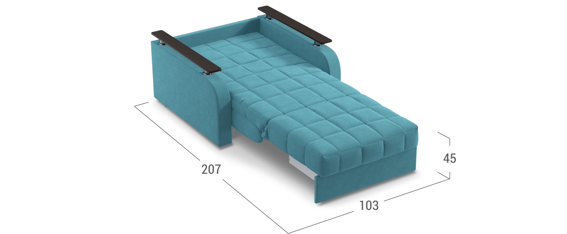 Кресло-кровать Карина 044Купить бирюзовое кресло-кровать Карина 044. Доставка от 1 дня. Подъём, сборка, вынос упаковки. Гарантия 18 месяцев. Интернет-магазин мебели MOON-TRADE.RU<br><br>Ширина см: 103<br>Глубина см: 104<br>Высота см: 90<br>Ширина спального места см: 80<br>Длина спального места см: 200<br>Глубина посадочного места см: 60<br>Высота спального места см: 45<br>Цвет: Бирюзовый<br>Механизм: Аккордеон<br>Материал: Велюр<br>Жёсткость: Средняя<br>Каркас: Металлокаркас<br>Чехол: Съёмный<br>Основание: Берёзовые латы, Пружинные змейки<br>Бельевой короб: Нет<br>Мягкий настил: ППУ<br>Цвет декора: Венге<br>Код ткани: 74-9<br>Модель: Карина<br>Бренд: MOON-TRADE
