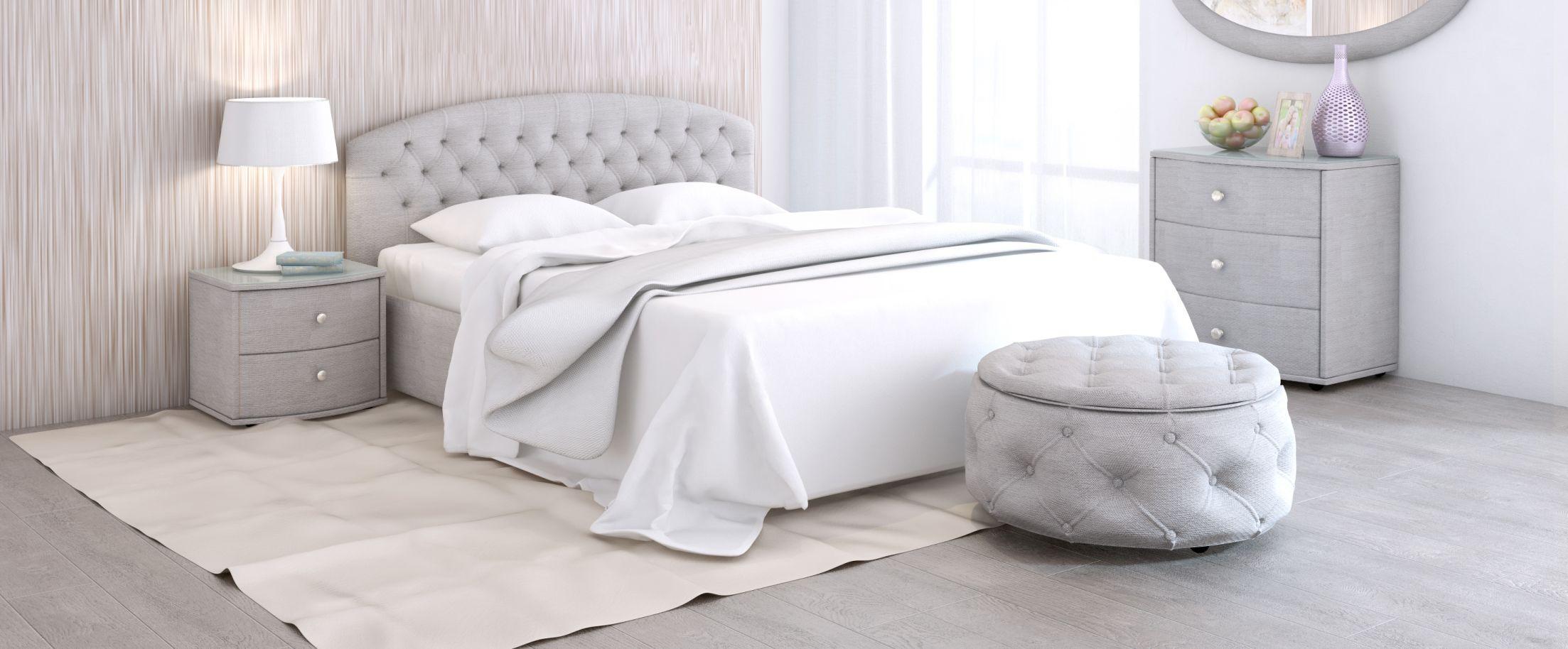 Кровать двуспальная Пальмира Модель 380Изящная модель со скруглённой спинкой. Благодаря лаконичности форм и прекрасным цветовым решениям эта кровать cделает любой интерьер легким и элегантным.