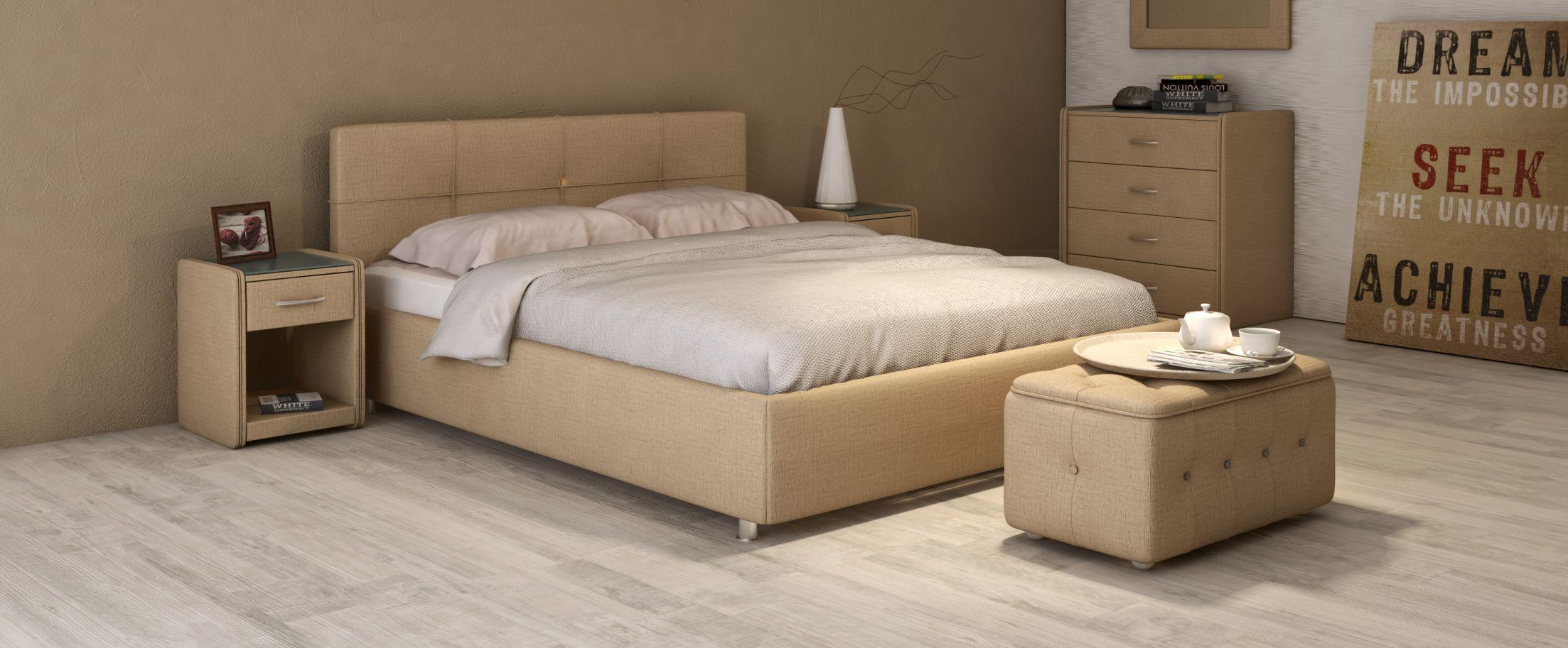 Кровать двуспальная Птичье гнездо Модель 381Лёгкость и аккуратность дизайна позволяют вписать эту кровать в интерьер даже очень небольшой комнаты, визуально не занимая лишнего пространства. Стильный кант подчеркивает простоту и чёткость линий.<br><br>Ширина см: 151<br>Глубина см: 208<br>Высота см: 90<br>Ширина спального места см: 140<br>Длина спального места см: 200<br>Цвет: Бежевый<br>Материал каркаса: ДСП<br>Материал обивки: Рогожка<br>Подъемный механизм: Есть<br>Бренд: Другие