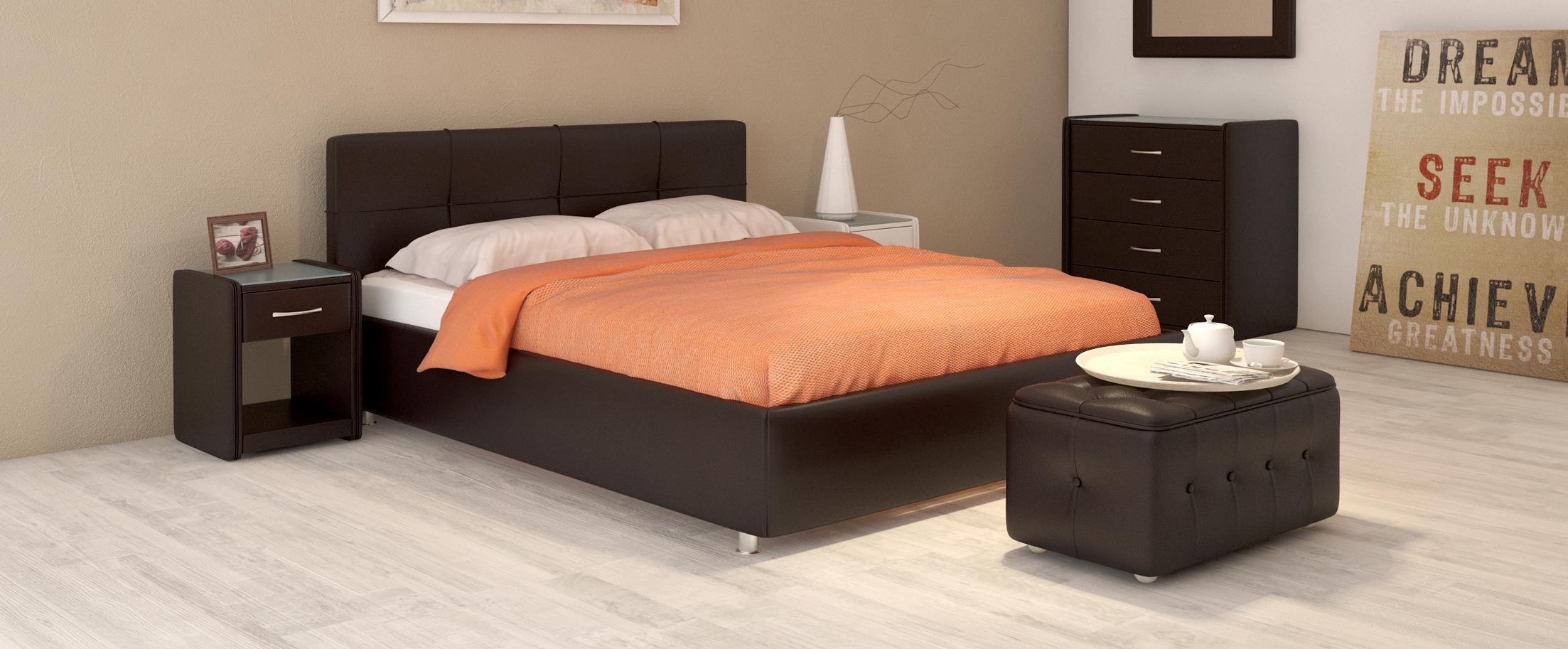 Кровать двуспальная Птичье гнездо Модель 381Лёгкость и аккуратность дизайна позволяют вписать эту кровать в интерьер даже очень небольшой комнаты, визуально не занимая лишнего пространства. Стильный кант подчеркивает простоту и чёткость линий.