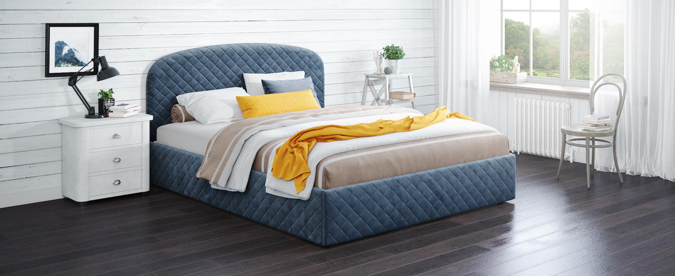 Кровать двуспальная Аллегра 140х200 Модель 1204Благодаря лаконичным формам она может стать как центральным предметом просторного помещения, также будет гармонично смотреться в небольшой спальной комнате.