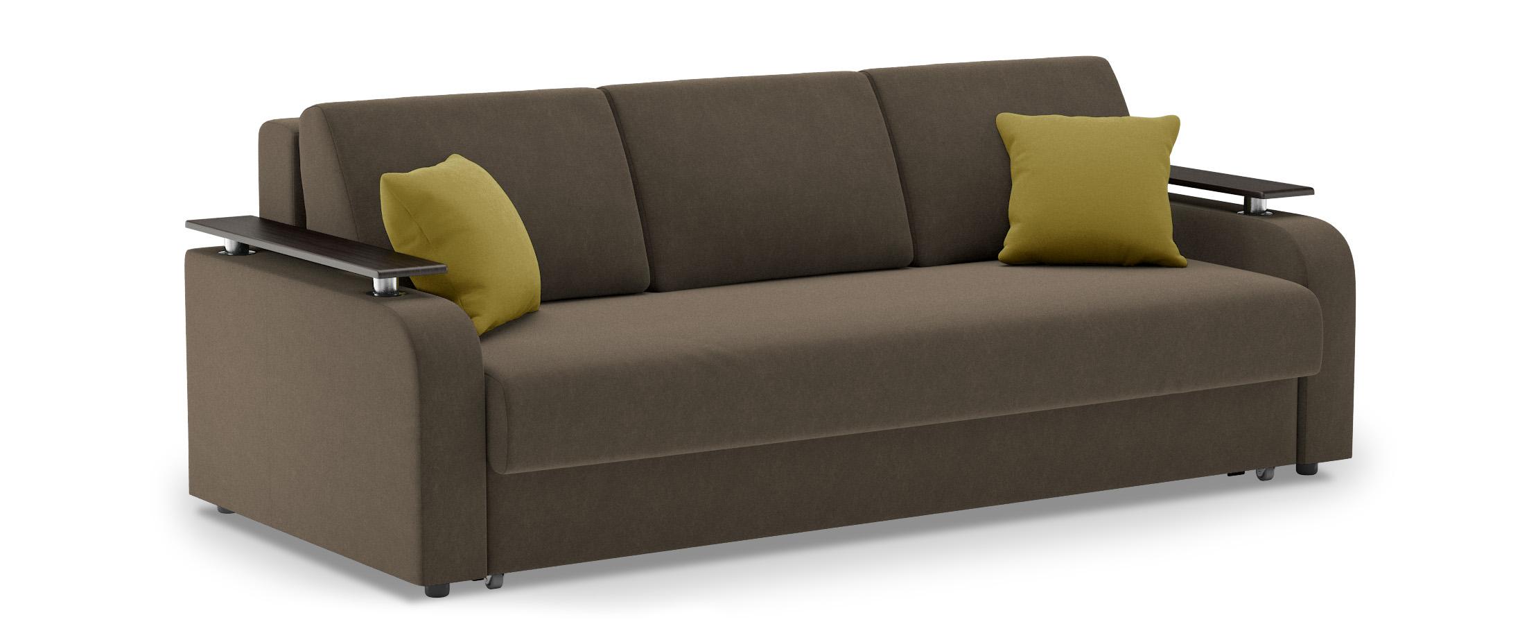 Диван прямой еврокнижка Марракеш 044Гостевой вариант и полноценное спальное место. Размеры 237х108х88 см. Купить коричневый диван еврокнижка в интернет-магазине MOON-TRADE.RU