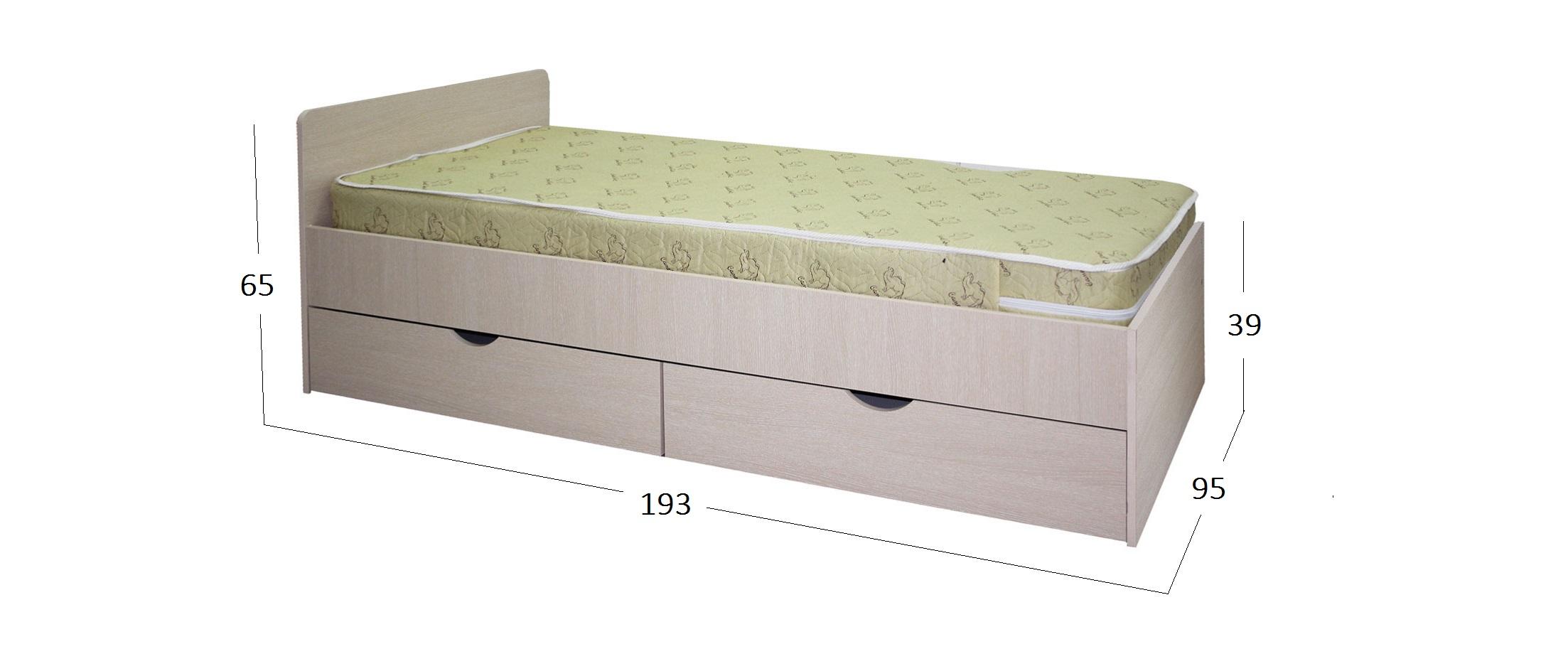 Кровать Стандарт Модель 505Спальное место 90х190 см. Гарантия 18 месяцев. Доставка от 1 дня.