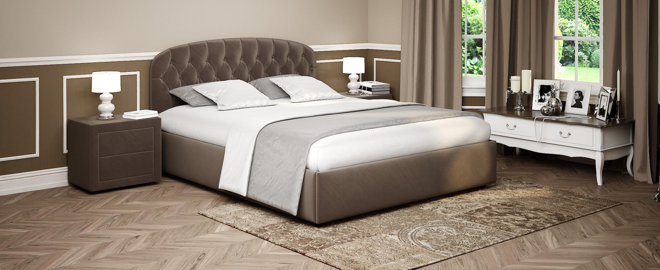 Кровать двуспальная Бьянка 140х200 Модель 1207Оригинальная форма изголовья кровати Бьянка придаст Вашей спальне индивидуальность, а стильные утяжки привнесут нотки благородности и шарма.