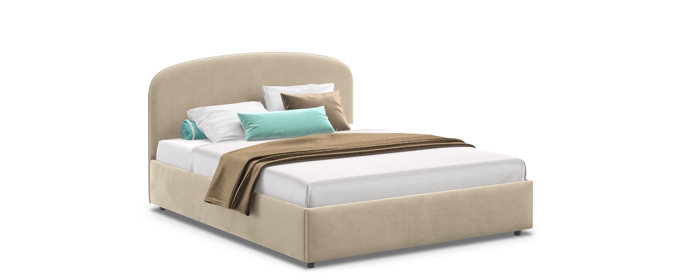 Кровать двуспальная Лия 140х200 Модель 1205Кровать Лия – воплощение мягкости, простора и удобства. Воздушность формы, изящно изогнутая спинка и оригинальный кант на изголовье подчеркнут стиль вашей комнаты.