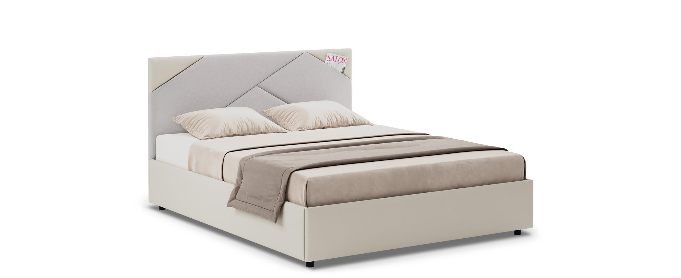 Кровать двуспальная Альба 140х200 Модель 1206Уникальность кровати Альба заключается в геометрических элементах мягкого изголовья, такой дизайнерский прием поможет задать ритм всему интерьеру.