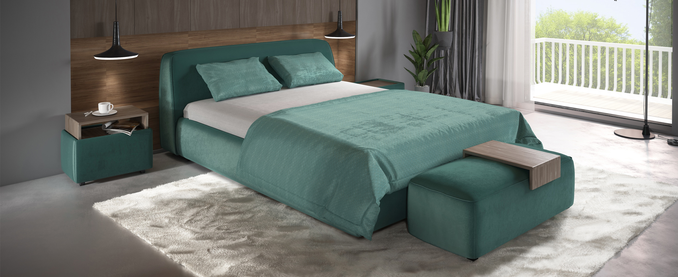 Кровать двуспальная MOON 1008 фото