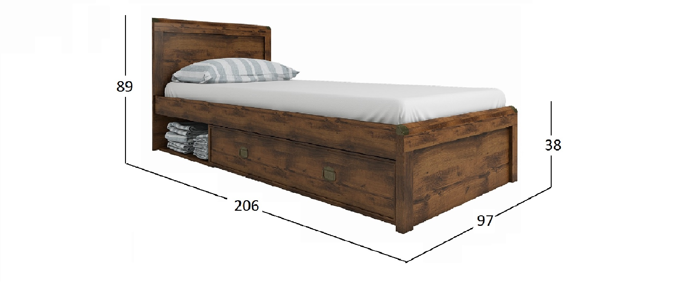 Кровать Магеллан Дуб Саттер Модель 734