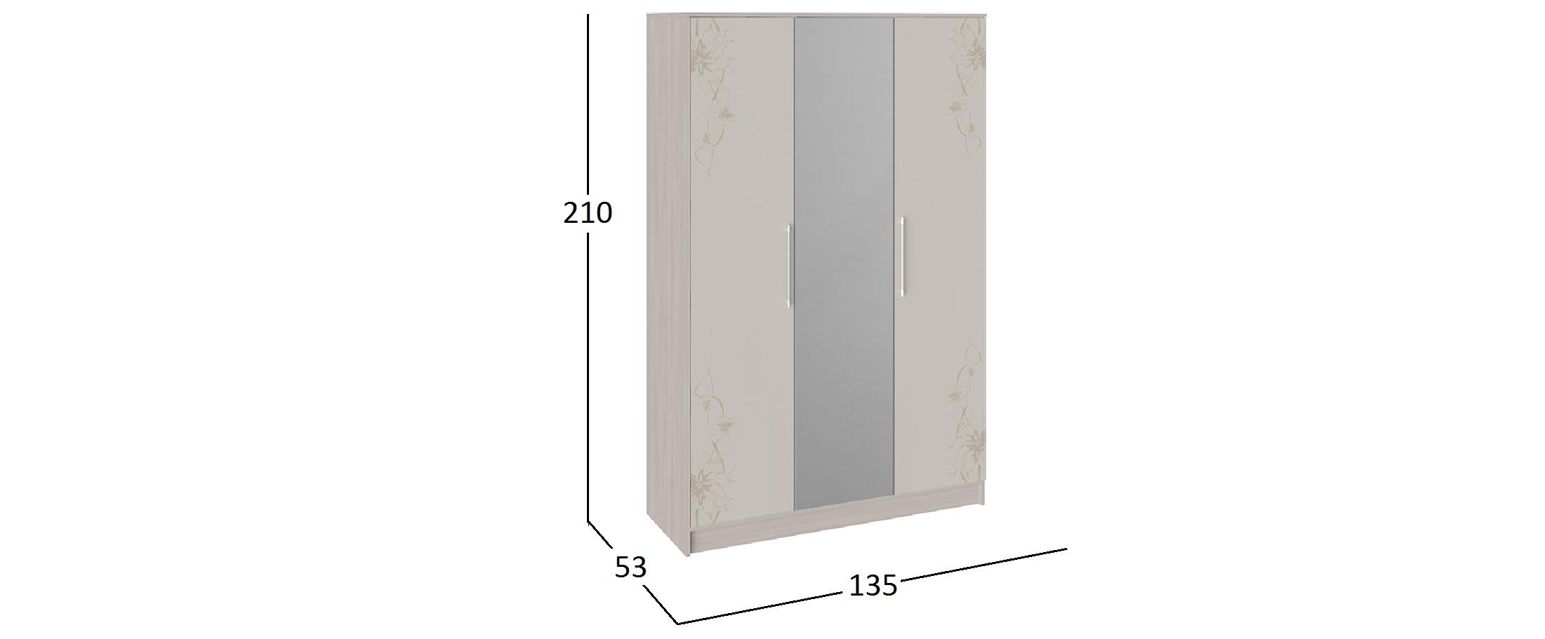 Шкаф Мишель (Ясень шимо/Бежевый фон глянец) Модель 942