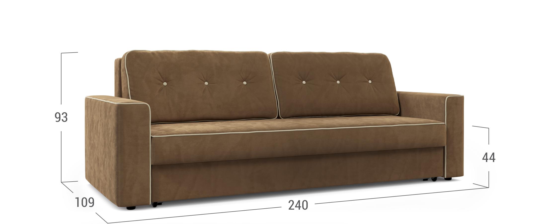 Диван прямой еврокнижка коричневый Менли 122