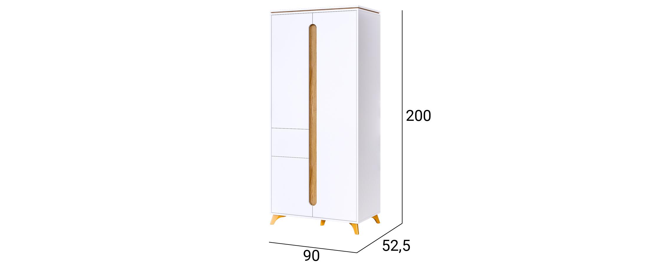 Шкаф Сканди 2-дверный с ящиком (Белый снег) Модель 520