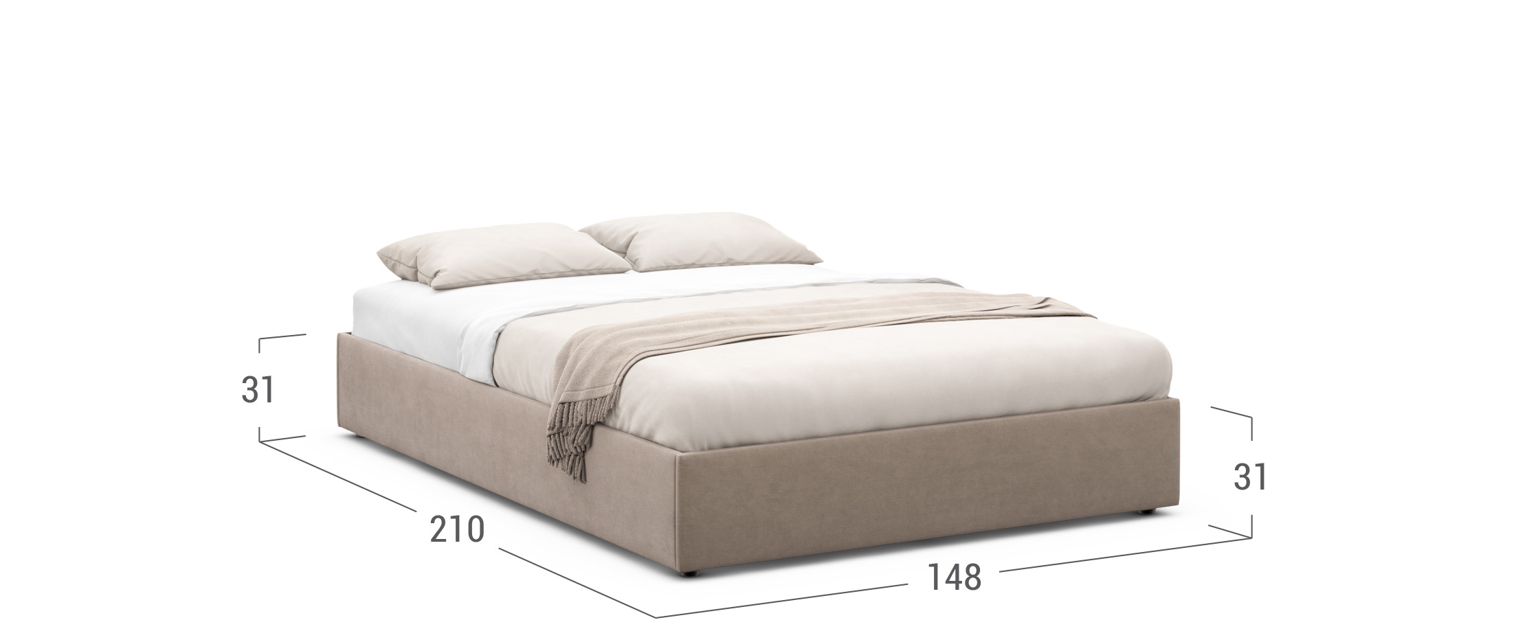 Кровать двуспальная 140х200 MOON FAMILY 1240