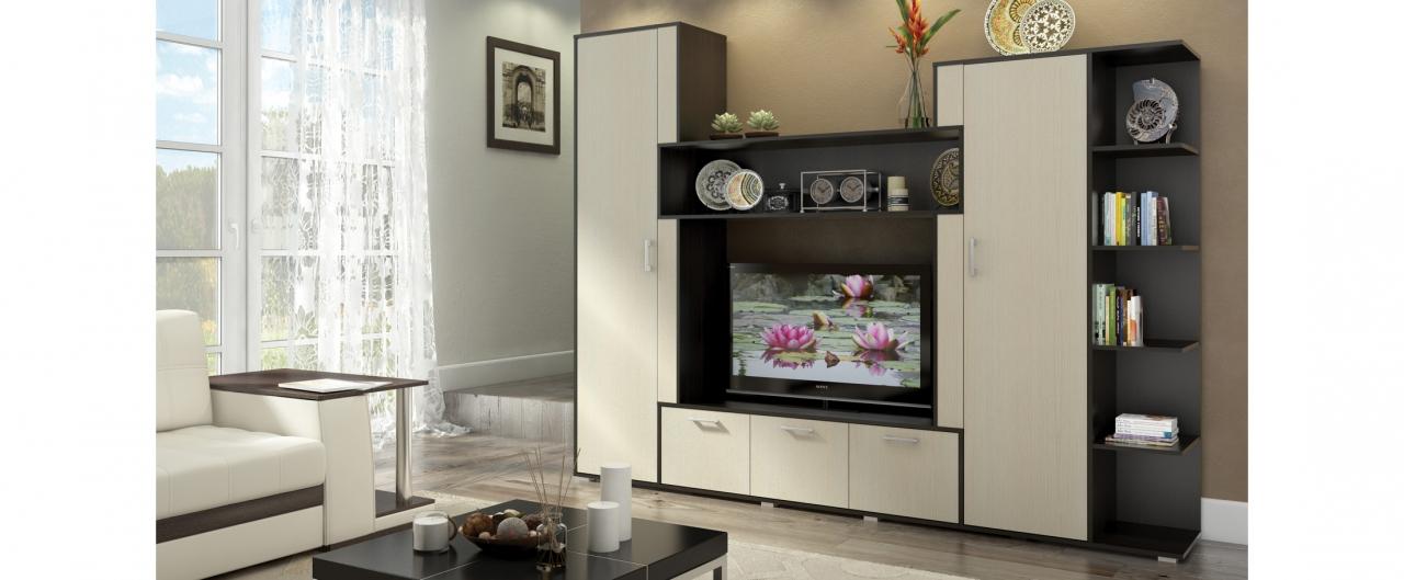 Стенка Орландо Модель 294Правильные геометрические формы стенки вмещают в себя несколько напольных шкафчиков, открытые полки, выемку для телевизора и закрытые отсеки для гардероба.<br>