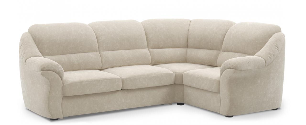 Диван угловой высоковыкатной Бостон 017Гостевой вариант и полноценное спальное место. Размеры 273х190х99 см. Купить бежевый диван высоковыкатной с правым углом из флока в интернет-магазине MOON TRADE.<br>