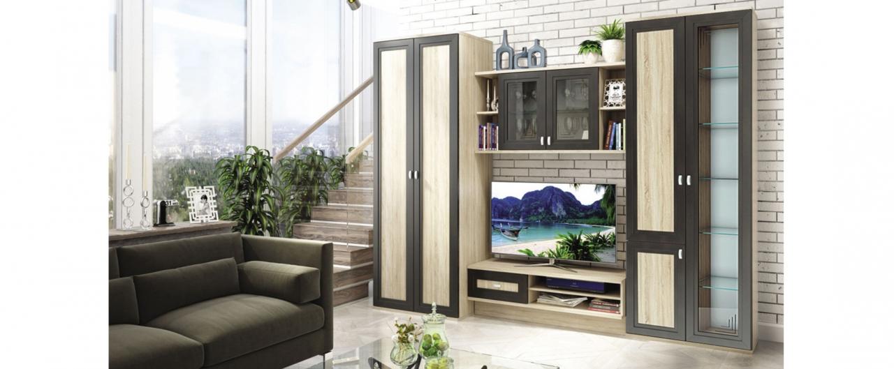 Стенка Аурелия Модель 294В двустворчатом шкафу будет удобно хранить одежду. Витрины, декорированные стеклом, идеально подойдут для хранения посуды и предметов декора.<br>