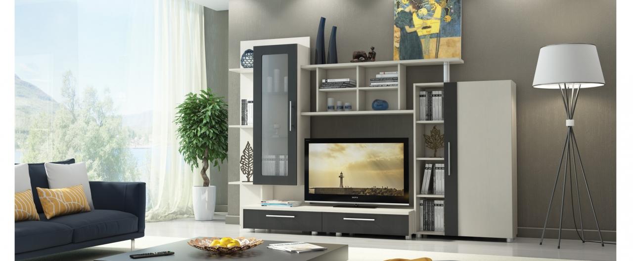 Стенка Франк Модель 294Большое количество открытых полок позволит разместить все любимые предметы интерьера и декора. Компактная за счёт витринного модуля с прозрачным стеклом.<br>