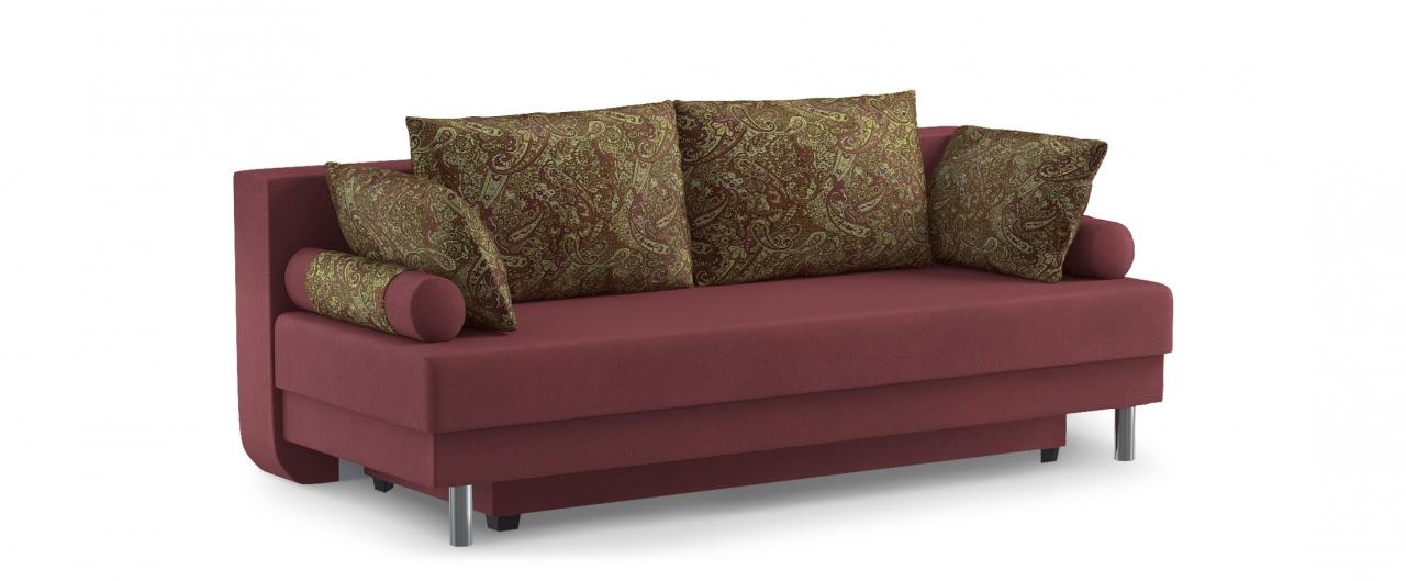 Диван прямой еврокнижка Палермо 020Гостевой вариант и полноценное спальное место. Размеры 205х90х87 см. Купить красно-коричневый диван еврокнижка в интернет-магазине MOON TRADE.<br>
