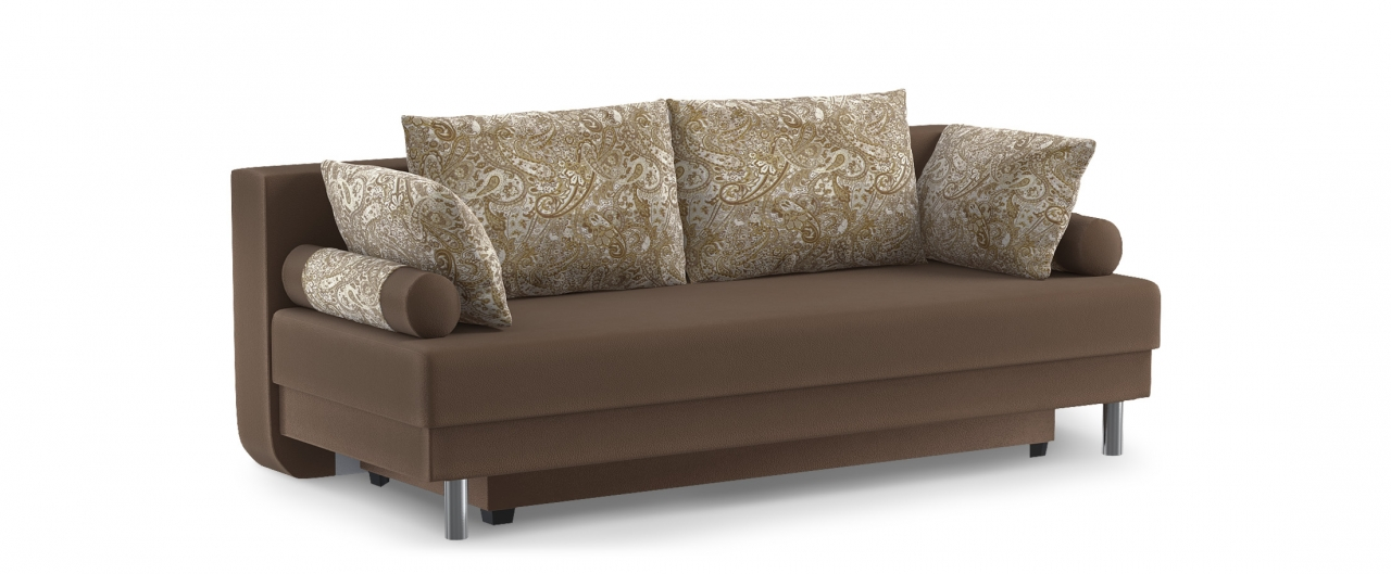 Диван прямой еврокнижка Палермо 020Гостевой вариант и полноценное спальное место. Размеры 205х90х87 см. Купить коричневый диван еврокнижка в интернет-магазине MOON TRADE.<br>