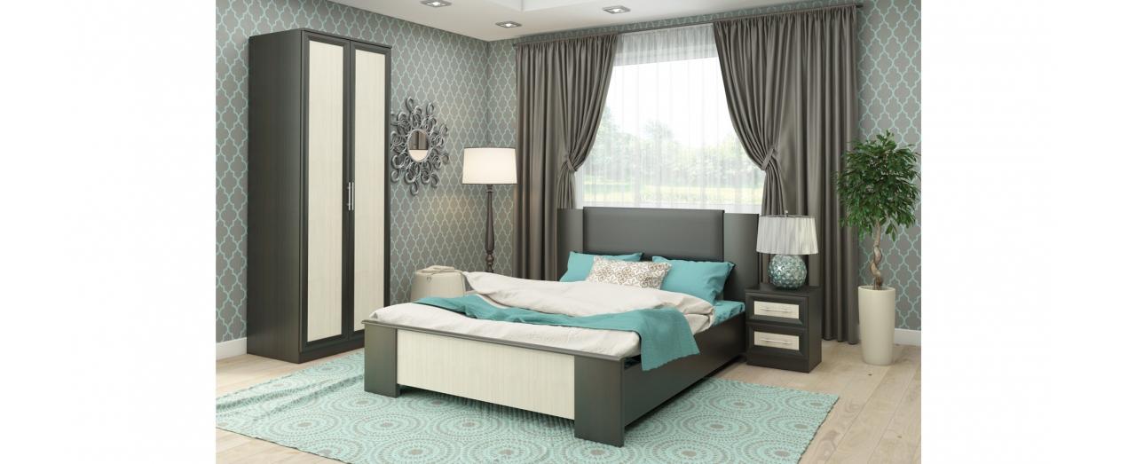 Спальня Юлианна 1 Модель 337Кровать 167х211х100, тумба прикроватная 40х38х51, шкаф 2-х дверный 80х59х224. Цвет дуб феррара. Гарантия 18 месяцев. Доставка от 1 дня.<br>