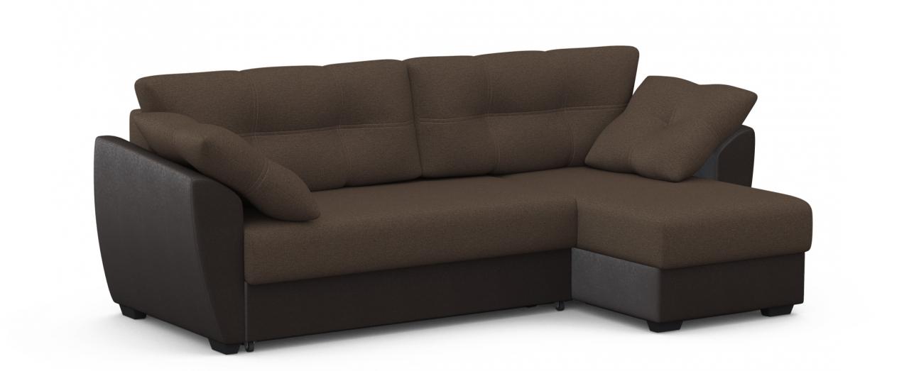 Диван угловой Модель 051 АмстердамГостевой вариант и полноценное спальное место. Размеры 243х143х87 см. Купить коричневый диван еврокнижка с универсальным углом в интернет-магазине MOON TRADE.<br>
