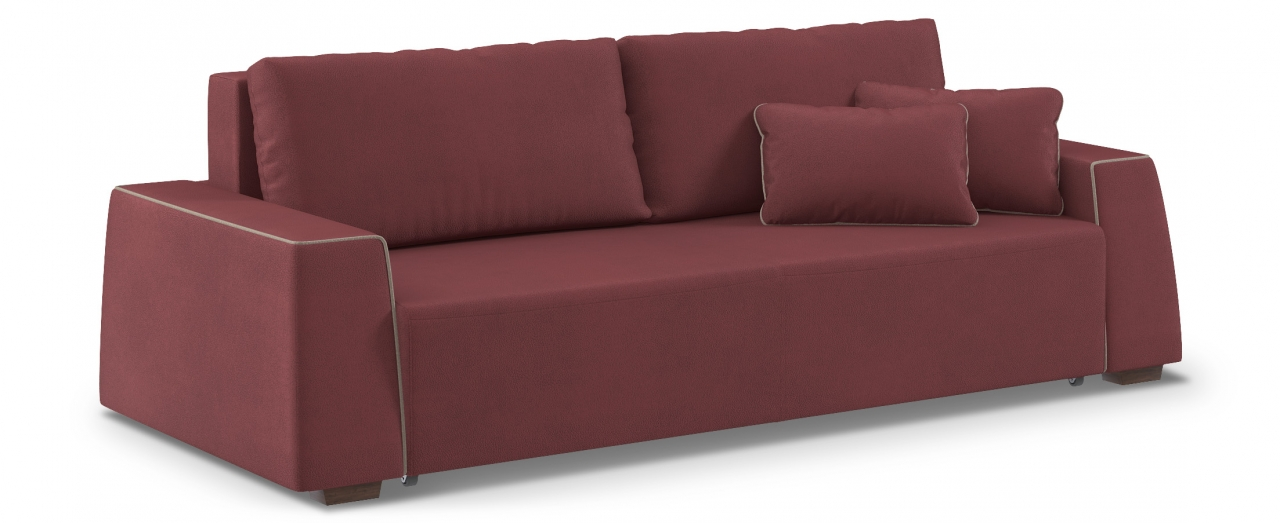 Диван прямой Манхэттен 067Диваны прямые<br>Гостевой вариант и полноценное спальное место. Размеры 258х108х88 см. Купить красно-коричневый диван еврокнижка в интернет-магазине MOON TRADE.<br>