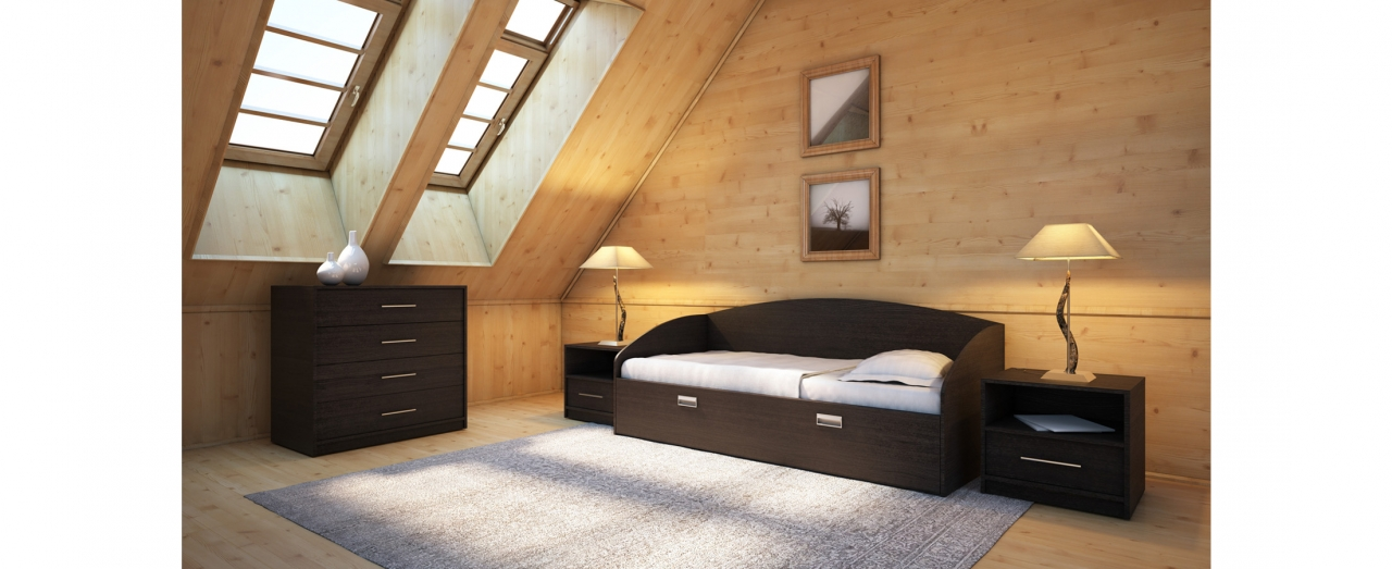 Кровать односпальная Этюд Софа Плюс Модель 356Встроенная ниша для спальных принадлежностей, подойдёт для небольшой спальни. Цвет венге. Купить односпальную кровать размером 80х200 см в интернет-магазине MOON TRADE.<br>