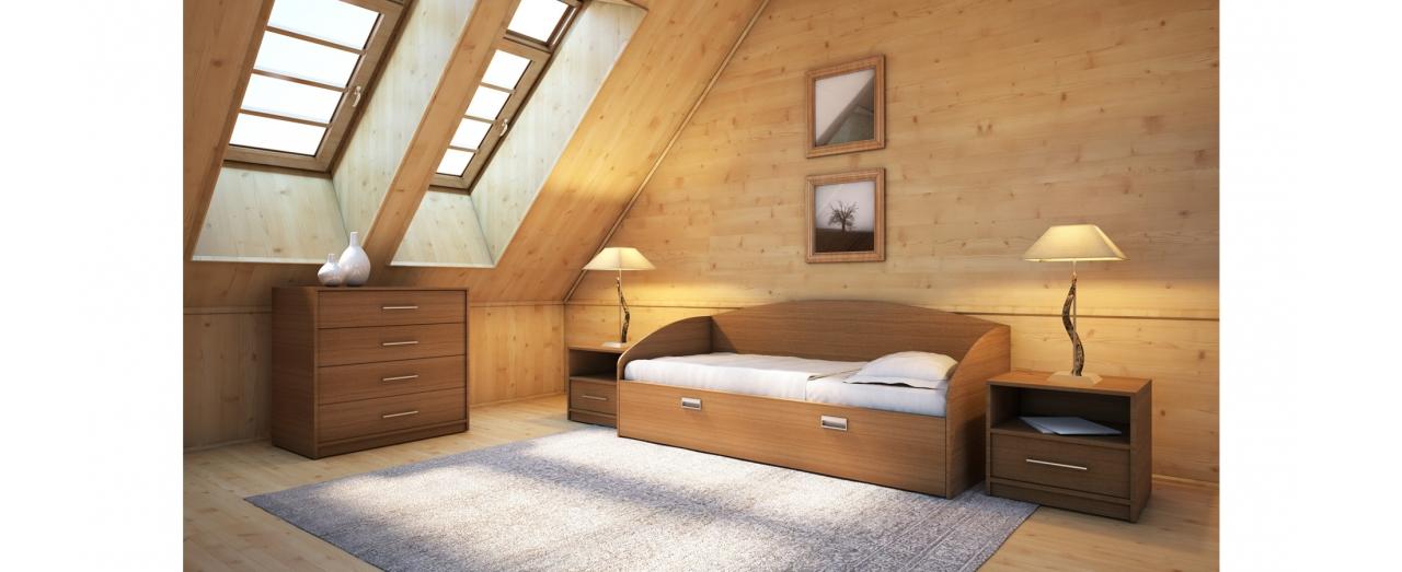 Кровать односпальная Этюд Софа Плюс Модель 356Встроенная ниша для спальных принадлежностей, подойдёт для небольшой спальни. Цвет орех. Купить односпальную кровать размером 80х200 см в интернет-магазине MOON TRADE.  Артикул: К000071.<br>