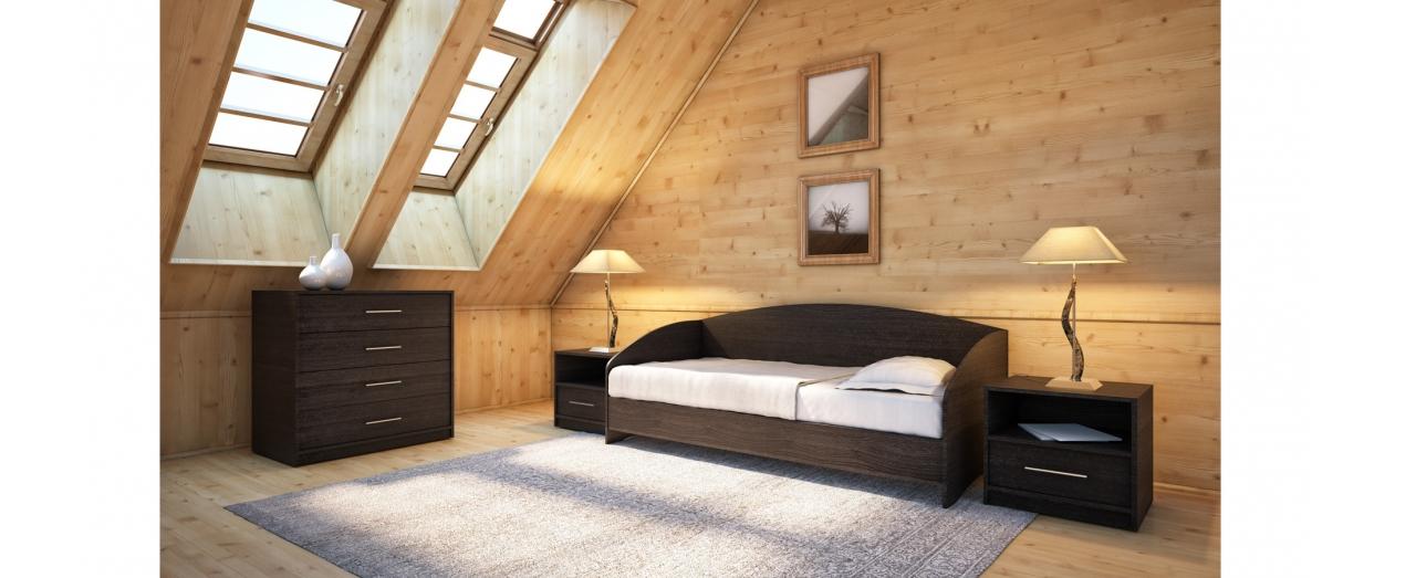 Кровать односпальная Этюд Софа Модель 356Встроенная ниша для спальных принадлежностей, подойдёт для небольшой спальни. Цвет венге. Купить односпальную кровать размером 80х200 см в интернет-магазине MOON TRADE.<br>