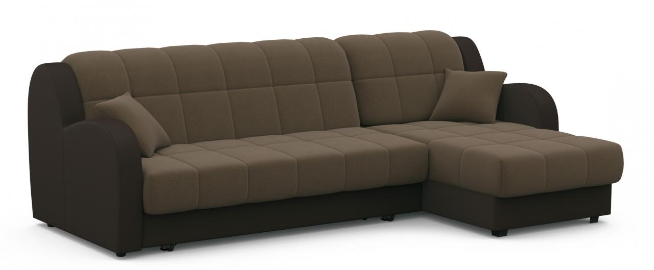 Диван угловой аккордеон Барон 022Гостевой вариант и полноценное спальное место. Размеры 243х161х88 см. Купить коричневый диван аккордеон с универсальным углом в интернет-магазине MOON TRADE.<br>