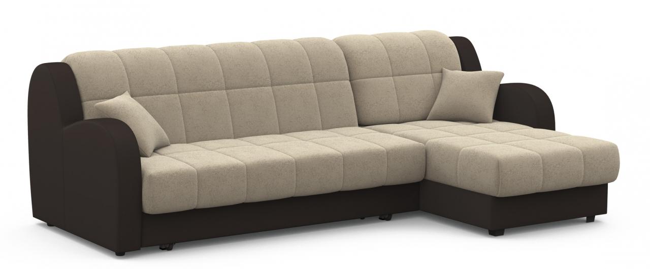 Диван угловой аккордеон Барон 022Гостевой вариант и полноценное спальное место. Размеры 243х161х88 см. Купить тёмно-бежевый диван аккордеон с универсальным углом в интернет-магазине MOON TRADE.<br>