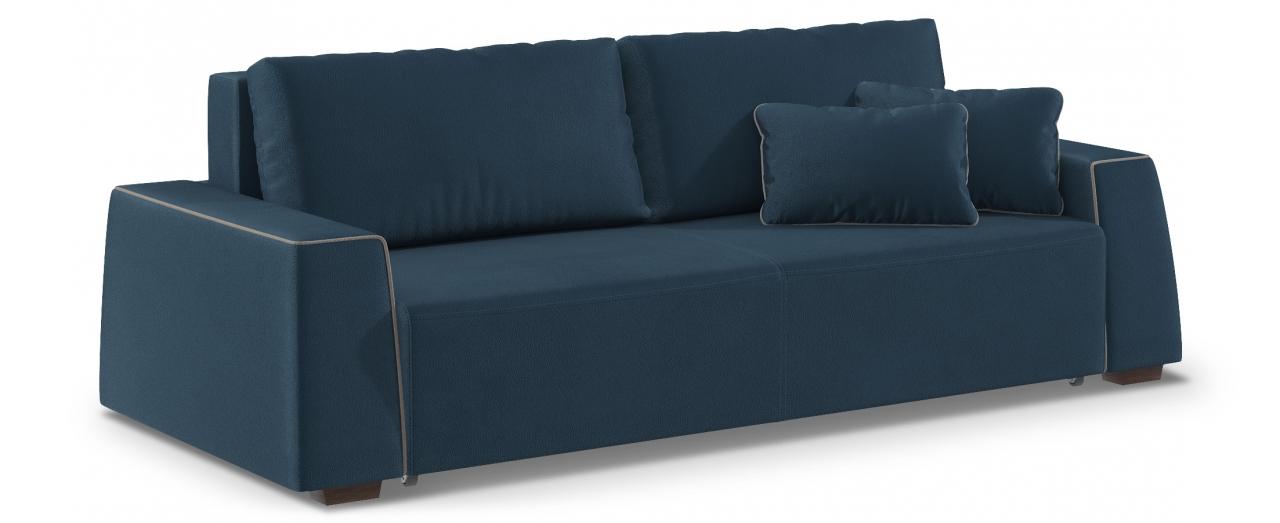 Диван прямой еврокнижка Манхэттен 067Гостевой вариант и полноценное спальное место. Размеры 258х108х88 см. Купить синий диван еврокнижка в интернет-магазине MOON TRADE.<br>