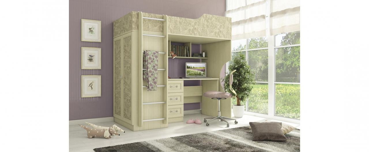 Детская светлая Дженни 1 Модель 349Купить удобный и практичный набор детской мебели в интернет магазине MOON TRADE. Размеры 195х95х196 см. Быстрая доставка, вынос упаковки, гарантия! Выгодная покупка!<br>