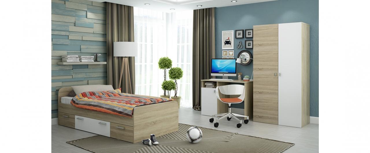 Детская цвета дуб Мика 2 Модель 349Купить набор детской мебели натуральных оттенков в интернет магазине MOON TRADE. Спальное место 90х190 см. Быстрая доставка, вынос упаковки, гарантия! Выгодная покупка!<br>