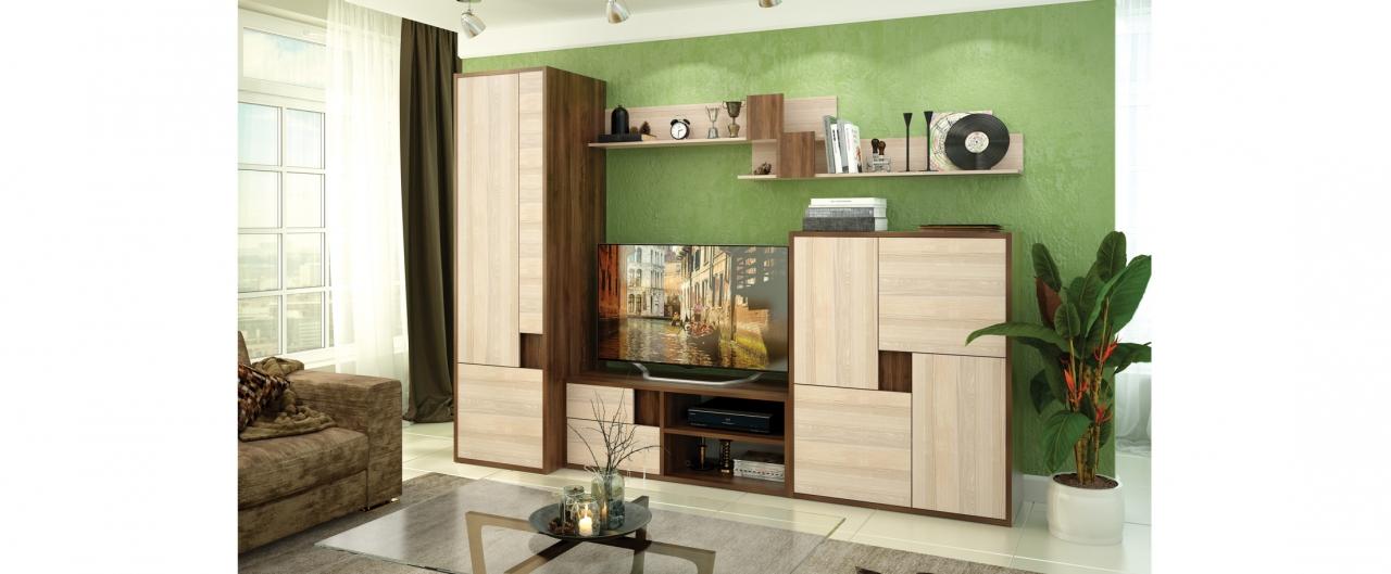 Гостиная Омега функциональная Модель 294Купить эффектную гостиную в интернет-магазине MOON TRADE. Размеры 285х60х209 см. Быстрая доставка, вынос упаковки, гарантия! Выгодная покупка!<br>