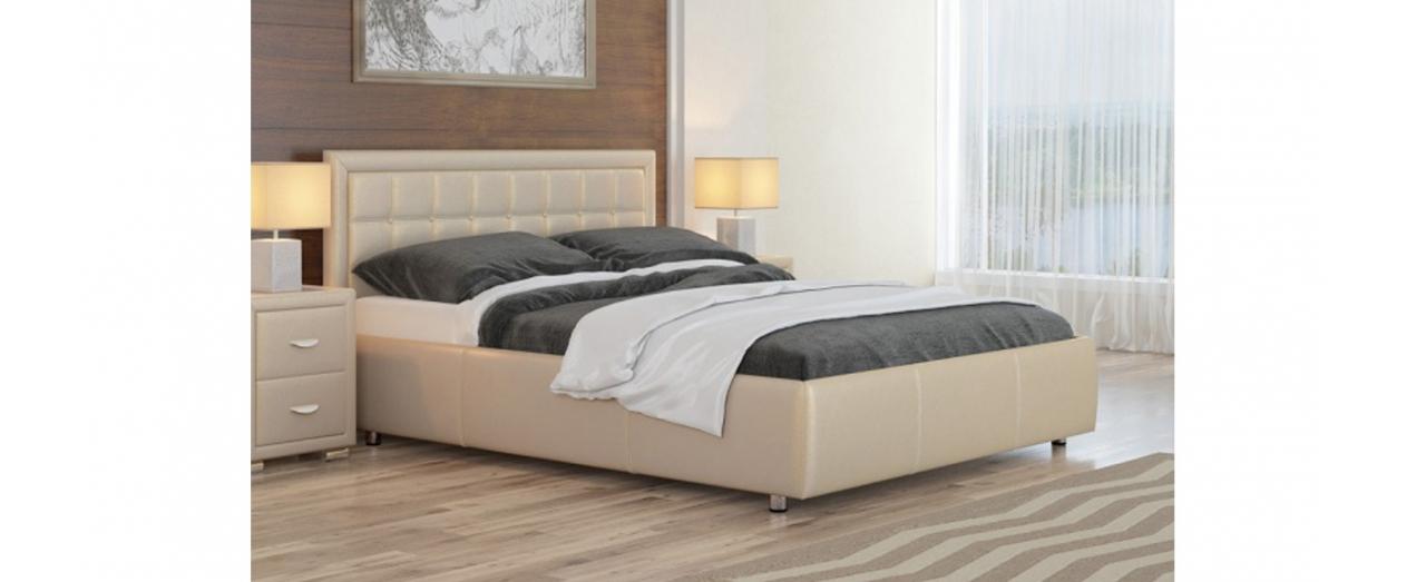 Кровать двуспальная Como 2 Модель 246Обивка из износостойкой бежевой экокожи. Каркас основания из металла, ламели из берёзы. Купить двуспальную кровать размером 160х200 см в интернет-магазине MOON TRADE.<br>