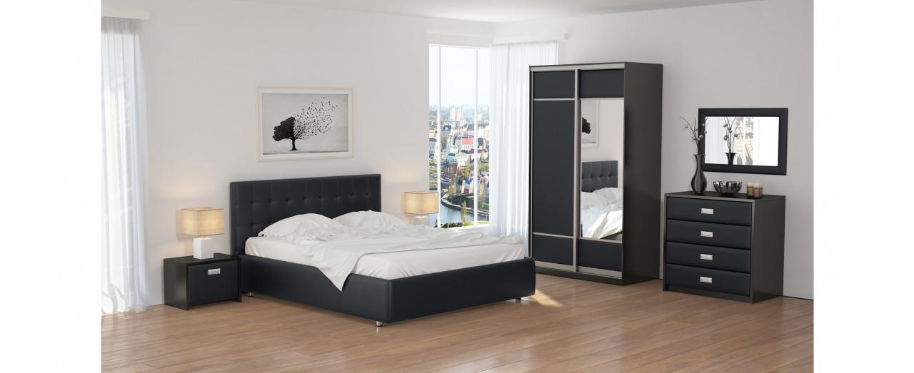 Кровать двуспальная Como 1 Модель 285Изголовье украшено стразами и декоративными пуговицами. Два варианта ткани на выбор. Купить двуспальную кровать размером 160х200 см в интернет-магазине MOON TRADE.<br>