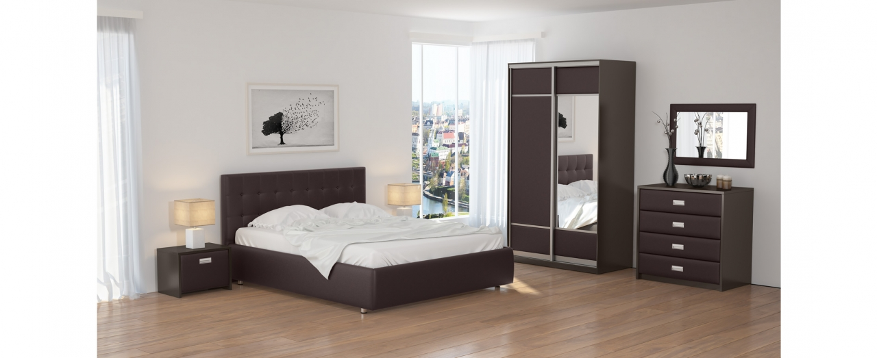 Кровать двуспальная Veda 1 Модель 281Изящная кровать, украшенная декоративными пуговицами. Каркас из ДСП. Два варианта обивки на выбор. Спальное место 160х200 см. Гарантия 18 месяцев. Доставка от 1 дня.<br>