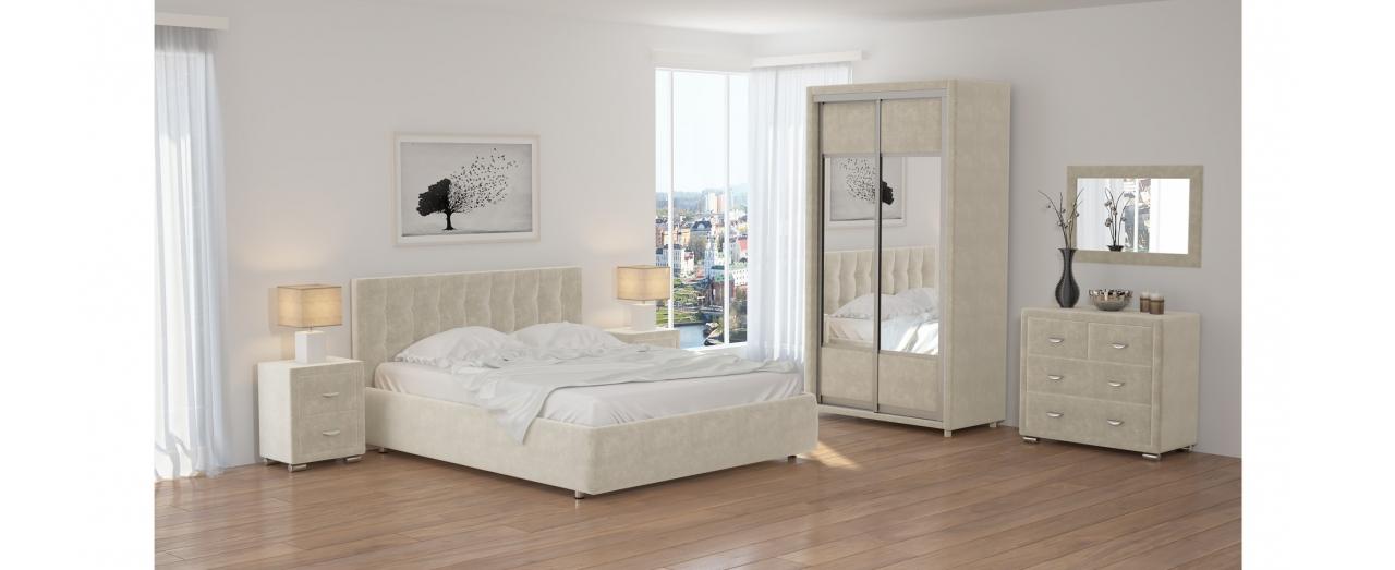 Кровать полутороспальная Veda 1 Модель 281Изящная кровать, украшенная декоративными пуговицами. Каркас из ДСП. Два варианта обивки на выбор. Спальное место 140х200 см. Гарантия 18 месяцев. Доставка от 1 дня.<br>